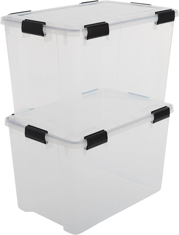 Iris Ohyama - Latas Herméticas de Almacenamiento, Plástico, Transparente 70 L, 59 x 39 x 38 cm, Lote de 2