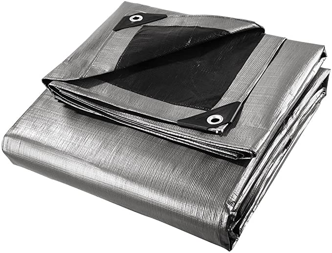 Tarp Cover Heavy Duty Thick Material Boat RV Or Pool Cover. Waterproof 10X20, Silver//Black-Ultra Heavy Duty-20 Mill Great for Tarpaulin Canopy Tent