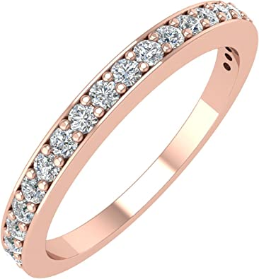 Diamond Wedding Band in 14K Pink Gold Size-6.75 1//10 cttw, G-H,I2-I3