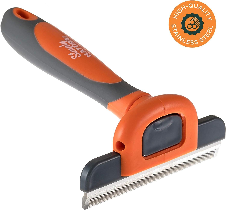 Simply Natural Cepillo para el Pelaje Herramienta para Peinar y Controlar el Pelaje de Acero Inoxidable para Perros y Gatos con una Cuchilla de Peinado Extraíble de 10 cm