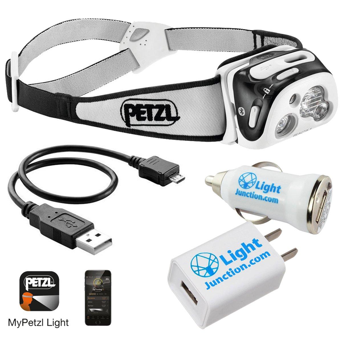 Petzl - REACTIK+ Headlamp (E95 HNE) 300 Lumens, Bluetooth Enabled - Includes 1 Lightjunction USB Car Adapter and 1 Lightjunction USB Wall Adapter