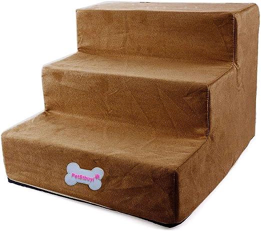 Pinji 3 Pasos de Escalera para Mascota de Alta Resiliencia con Funda Extraíble y Lavable Escaleras Suaves para Perros y Gatos (Albaricoque): Amazon.es: Productos para mascotas