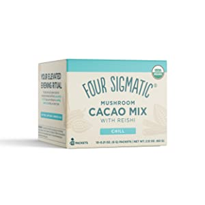 Four Sigmatic Mushroom Hot Cacao with Reishi - USDA Organic Reishi Mushroom Powder - Natural Calm, Relax, Sleep - Vegan, Paleo - 10 Count