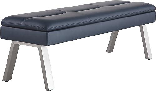 Milan Janice Blue Gray 2-Tone Bench with Storage