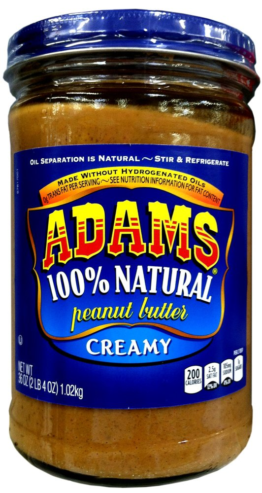 Adams 100% Natural CREAMY PEANUT BUTTER 36oz (6 Pack) by Adams
