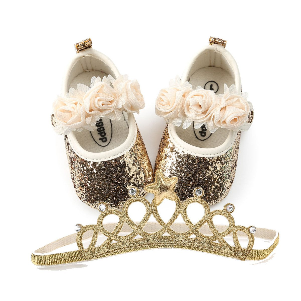 Baby Girls Soft Sole Mary Jane Princess Floral Shoes Anti-Slip Infant Prewalker Dress shoes (12cm(8-14 months), B-Gold With Headband)