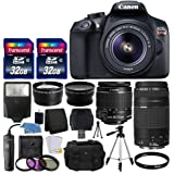 Canon EOS Rebel T6 Digital SLR Camera + Canon 18-55mm EF-S f/3.5-5.6 IS II Lens & EF 75-300mm f/4-5.6 III Lens + Wide Angle Lens + 58mm 2x Lens + Slave Flash + 64GB Card + Wired Remote + Valued Bundle