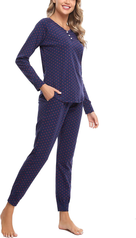 Hawiton Pijama Mujer Invierno Manga Larga Conjunto de Pijama para Mujer Algod/ón Ropa de Casa Mujer Largo Pantalon Camiseta Dos Piezas