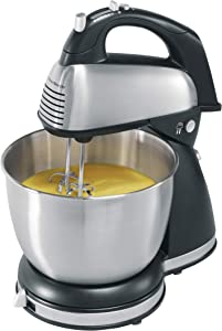 Hamilton Beach Classic Hand and Stand Mixer, 4 Quarts, 6 Speeds with QuickBurst, 290 Watts, Bowl Rest, Black and Stainless (64650), Discontinued