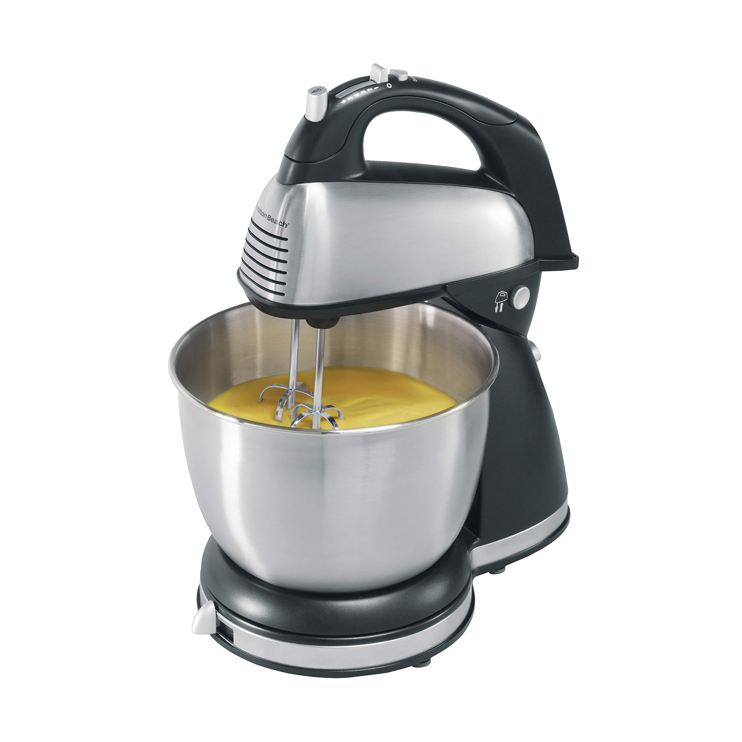 Hamilton Beach Classic Hand and Stand Mixer, 4 Quarts, 6 Speeds with QuickBurst, 290 Watts, Bowl Rest, Black and Stainless (64650), by Hamilton Beach