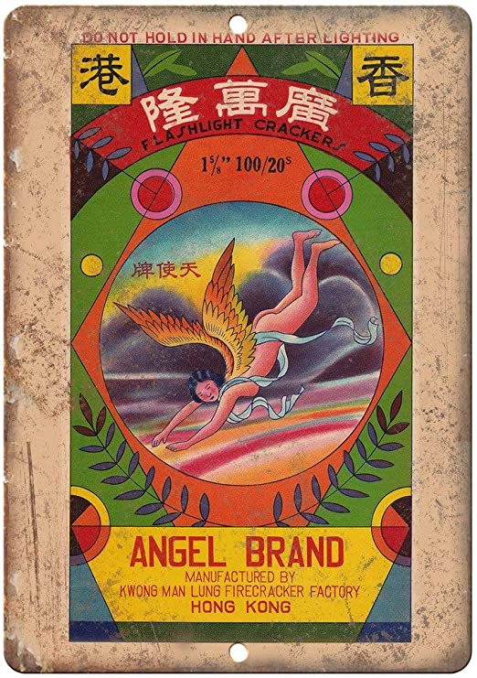 Angel Brand Firecracker Package Vintage Placa Vintage Metal ...