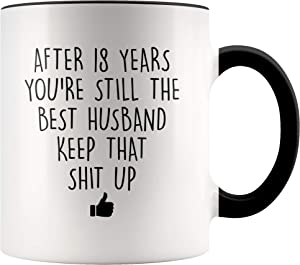 YouNique Designs 18 Year Anniversary Coffee Mug for Him, 11 Ounces, 18th Wedding Anniversary Cup For Husband, Eighteen Years, Eighteenth Year, 18th Year