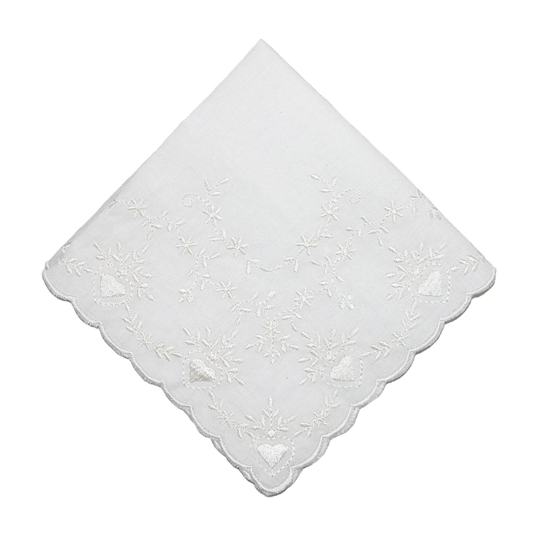 CTM Women's Soft Cotton Bridal Heart Embroidered Handkerchief, White WO-05702-WHT