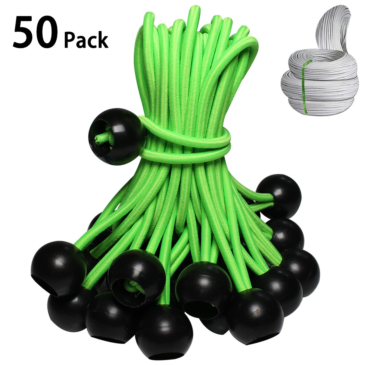 Ball Bungee Cord Premium Heavy Duty Elastic Cords 50 Pack (6 inch)