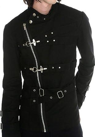 Men/'s Handmade Black Guard Military Band Jacket Goth Steampunk Vintage Pea Coat