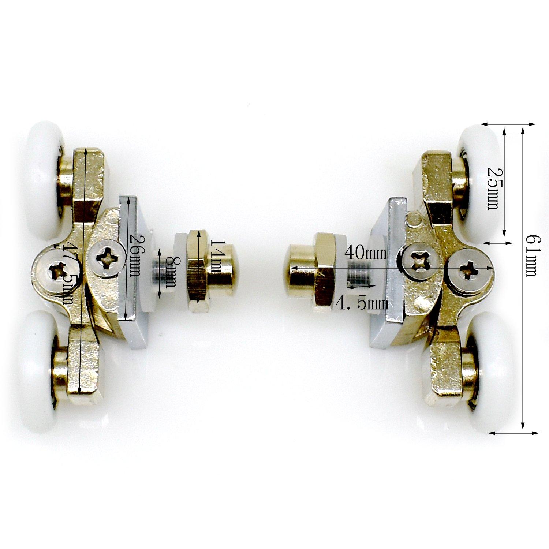 4pcs porta doccia rulli 25mm in lega di zinco doppia porta doccia ruote YuanQian