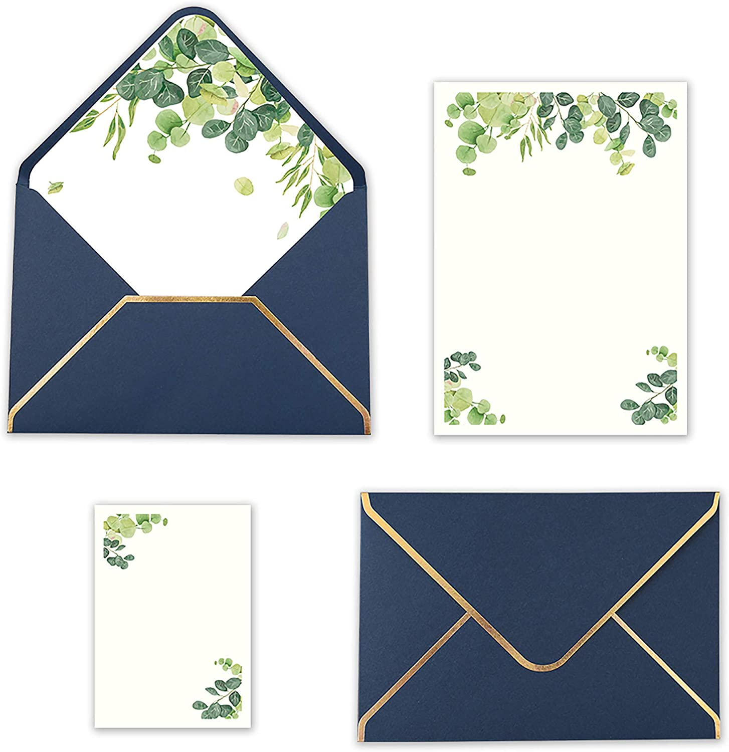 Doris Home 25pcs Blue Invitations Cards with Eucalyptus leaves Printed Inner Sheets and Envelope with with Gold Border for Wedding,Engagement Invite (Navy Blue, Blank with flower)