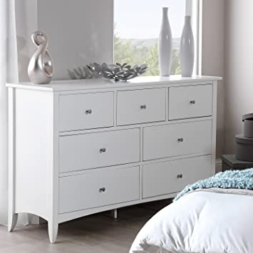 Edward Hopper White 7 Drawer Chest Large Chest Of Drawers With Metal Runners And Dovetail Joints Fully Assembled