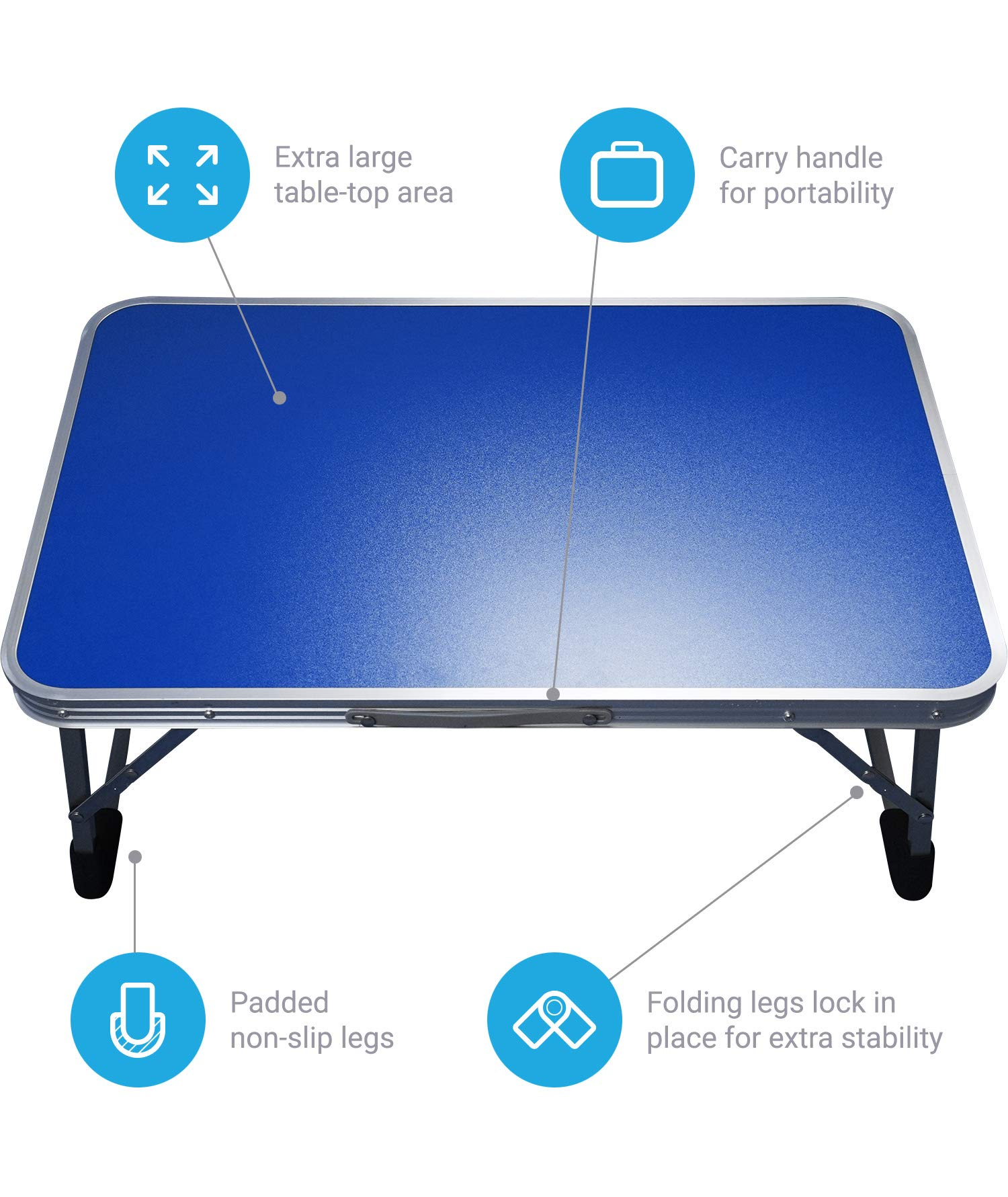 Extra Large Folding Desk Tray - Featuring Locking Foldable Leg Design and Carry Handle - for use in Bed, Computer, Picnic, or Kids Playtime by BrightCare (Image #3)