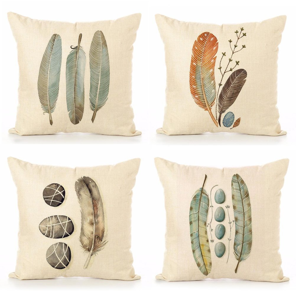 Cotton Linen Throw Pillow Case U-LOVE Feathers Print Square Cushion Cover 18 X 18 Inch Pillow ,4 pack