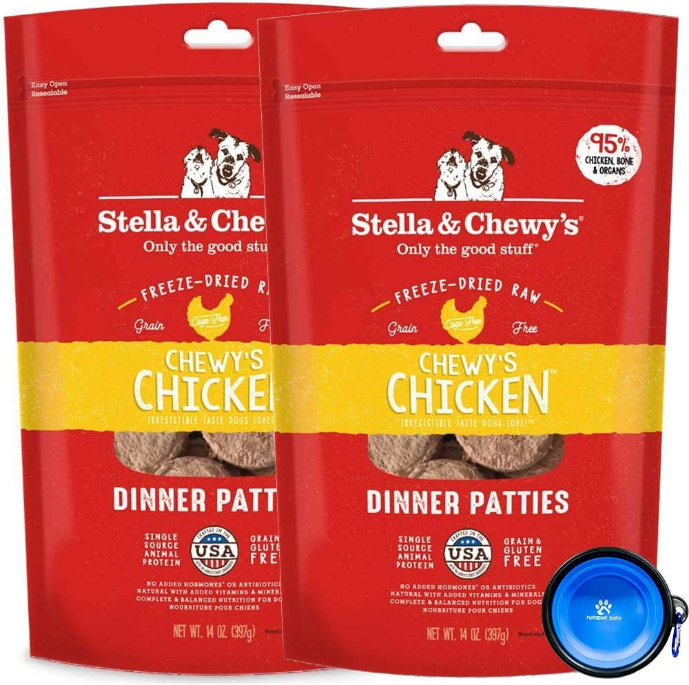 Stella & Chewy's Freeze Dried Raw Dinner Patties Dog Food 2 Pack (28oz Total) Bundle Including Hotspot Pet Travel Bowl - Made in The U.S.A (Chicken)