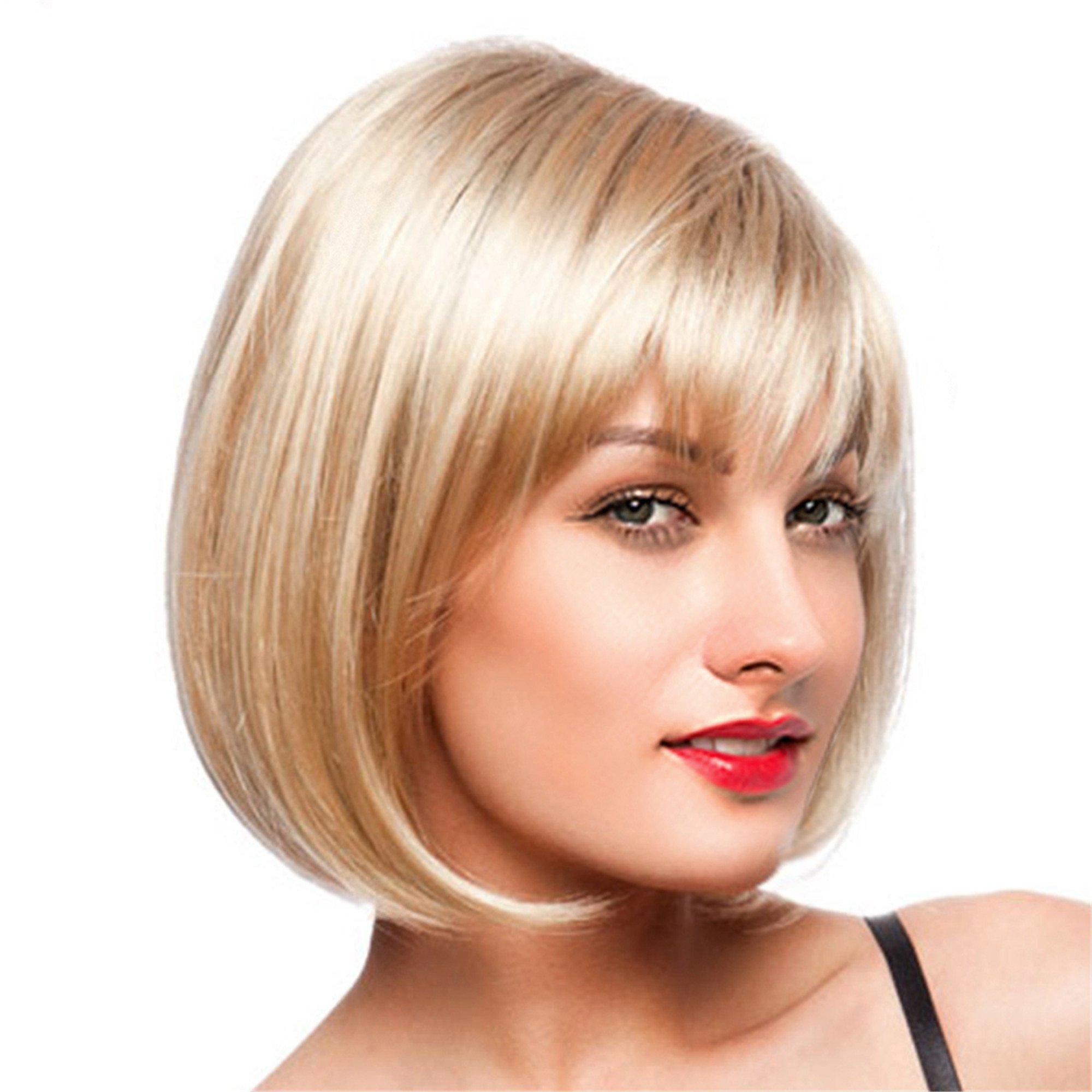 Mufly Bob Style Virgin Brazilian Human Hair Wigs Blonde Color Short Natural Straight Side Bangs Blend Capless Wigs for Lady Women Wedding& Daily Wear 10 inches