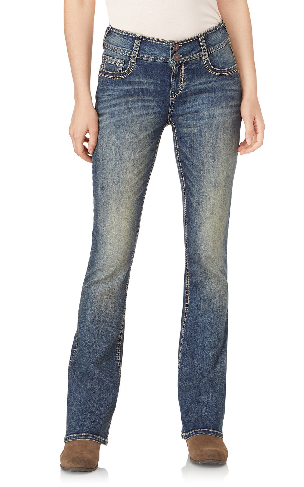 WallFlower Jeans Junior's Petite InstaStretch Luscious Curvy Bootcut, Basil, 3 Short by WallFlower (Image #1)
