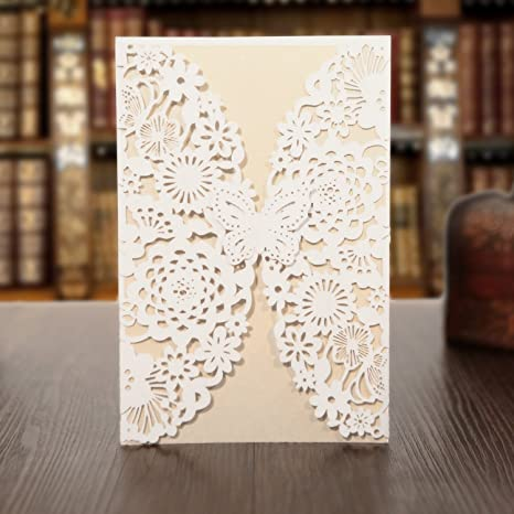 amazon com kazipa 25pcs laser cut invitations 4 7 x 7 wedding