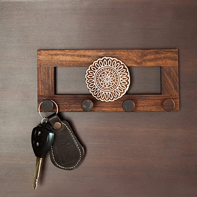 2f10807efac ExclusiveLane Flower Block Key Holder in Sheesham Wood - Wooden Wall  Hanging Key Holder for Home Décor Key Hooks for Wall Key Stand Hanger Keychain  Holder ...
