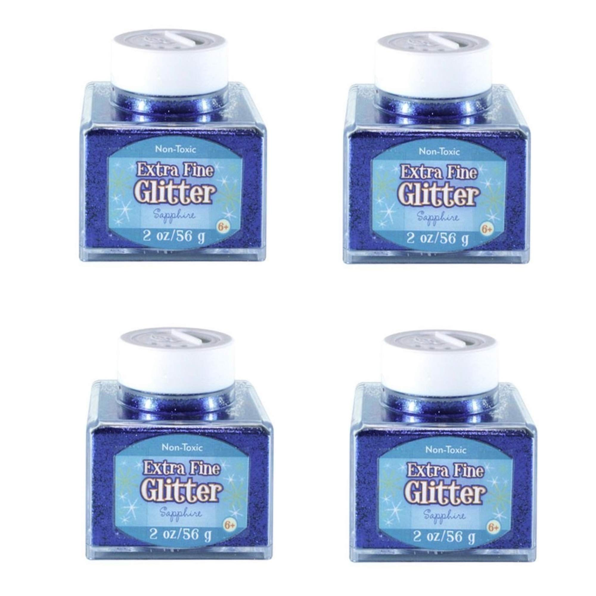 Sulyn Extra Fine Sapphire Blue Glitter Stacker Jar, 2 Ounces, Stackable and Reusable Jar, Multiple Slot Openings for Easy Dispensing and Mess Reduction, Blue Glitter, 4 Pack