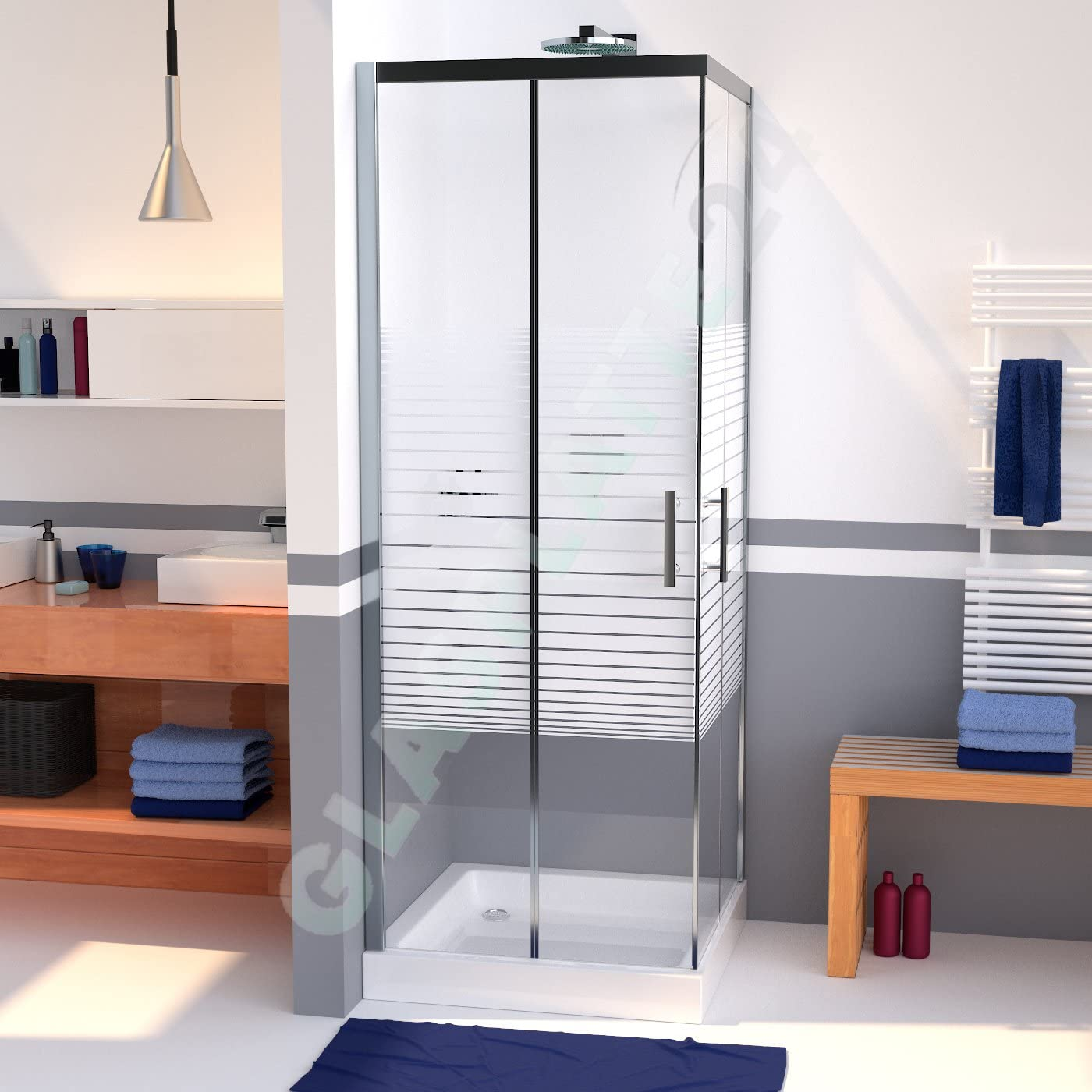 durashower ducha cabina de Nano Cristal de Seguridad en 800 x 800 mm rayas Diseño al nano-recubrimiento ducha pared puerta Herraje de aluminio puerta de cristal ducha Mampara de ducha Ducha Puerta