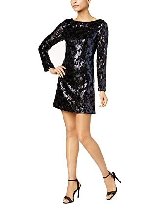 47e9094afe6 Amazon.com  Vince Camuto Womens Cocktail Sequined Party Dress Blue 4   Clothing