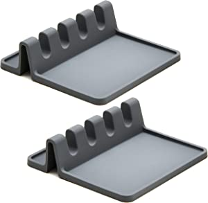 Grey Silicone Spoon holder for Stove Top with Drip Pad (Two Pack) - Heat Resistant, BPA Free Utensil Rest & Spoon Rest for Kitchen Counter - Grill Utensil Holder for Spatulas, Tongs, Ladles