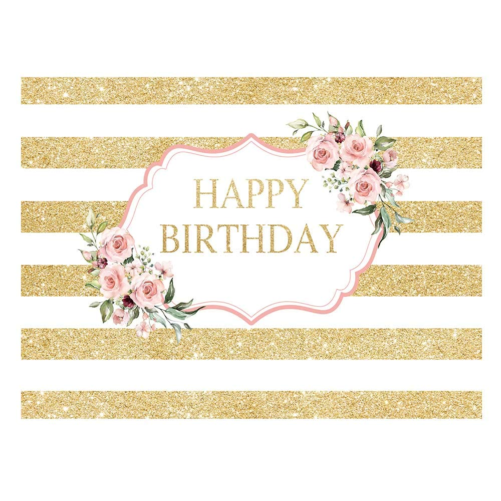 Allenjoy Pink Rose Golden Happy Birthday Backdrop Gold White Stripes Women 20th 30th 40th 50th Bday Party Decoration Girls Sweet 16 Cake Table Banner Vinyl 8x6ft Photo Booth Background by Allenjoy