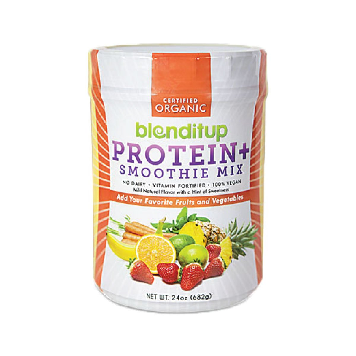 Organic Vegan Protein Powder Unflavored Smoothie Mix Gluten Free, Dairy Free, GMO Free With Soy Protein Isolate - Nutritional Supplements - Kosher Food - No Eggs - 24 Oz by BlendItUp