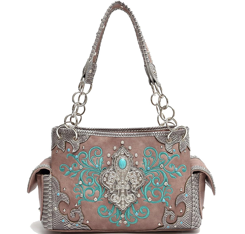 Cowgirl Trendy Western Concealed Carry Fleur De Lis Turquoise GEM Stone Purse Handbag Shoulder Bag Taupe