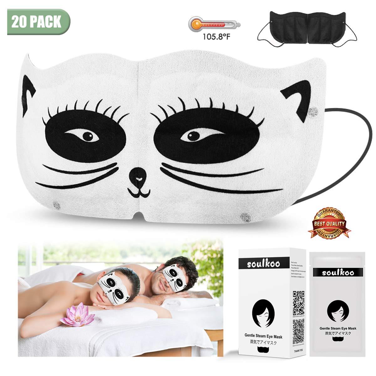 Moist Heat Eye Compress   Steam Eye Mask for Dry Eyes, Help Sleep, Blackout, Breathable, Relieves Eyestrain Fatigue Dryness Soreness, Men Women, 20 Sheets by soulkoo