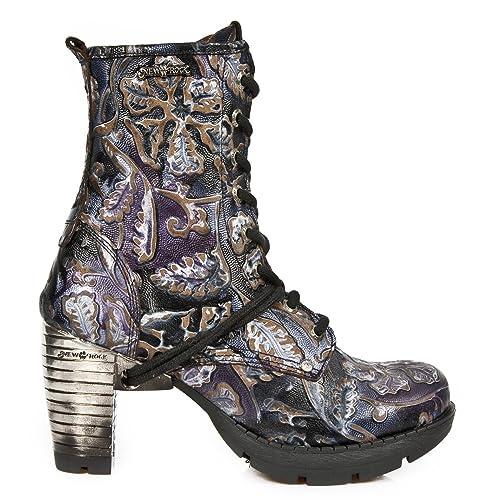 New Rock M.TR001-S4 Mujer Chica Botines Morado Lila Cuero Tacón Cordones Cremallera Punk Heavy Rock Gótico: Amazon.es: Zapatos y complementos