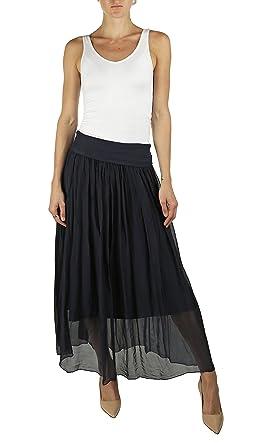 7a52a4aacd KOTORE Lola Hailey 100% Silk Maxi Skirt - Made In Italy (Navy, Medium