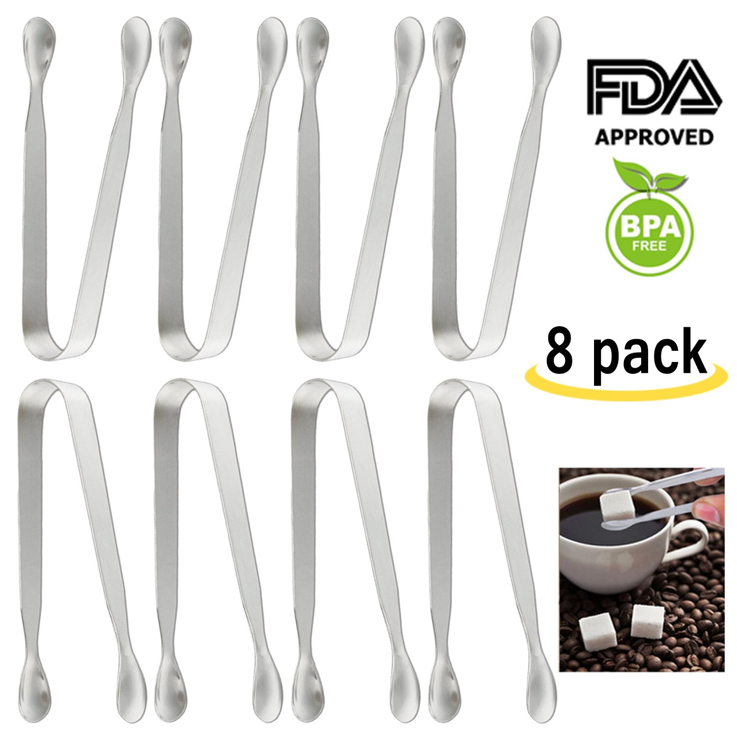 Amison Premium Sugar Ice Tongs for Coffee & Tea Party, Small Kitchen Tongs, Food-Grade 304 Stainless Steel Tongs, 4-1/2'' Heavy Duty, Ice Tongs, Mini Serving Tongs, Appetizer Tongs, Silver by (8 Pack)