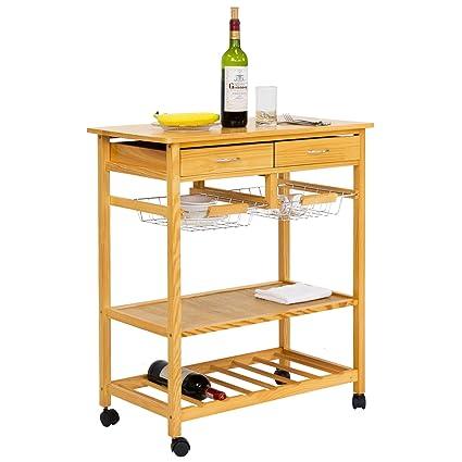Amazon Com Kinbor Kitchen Cart On Wheels Wooden Trolley Work