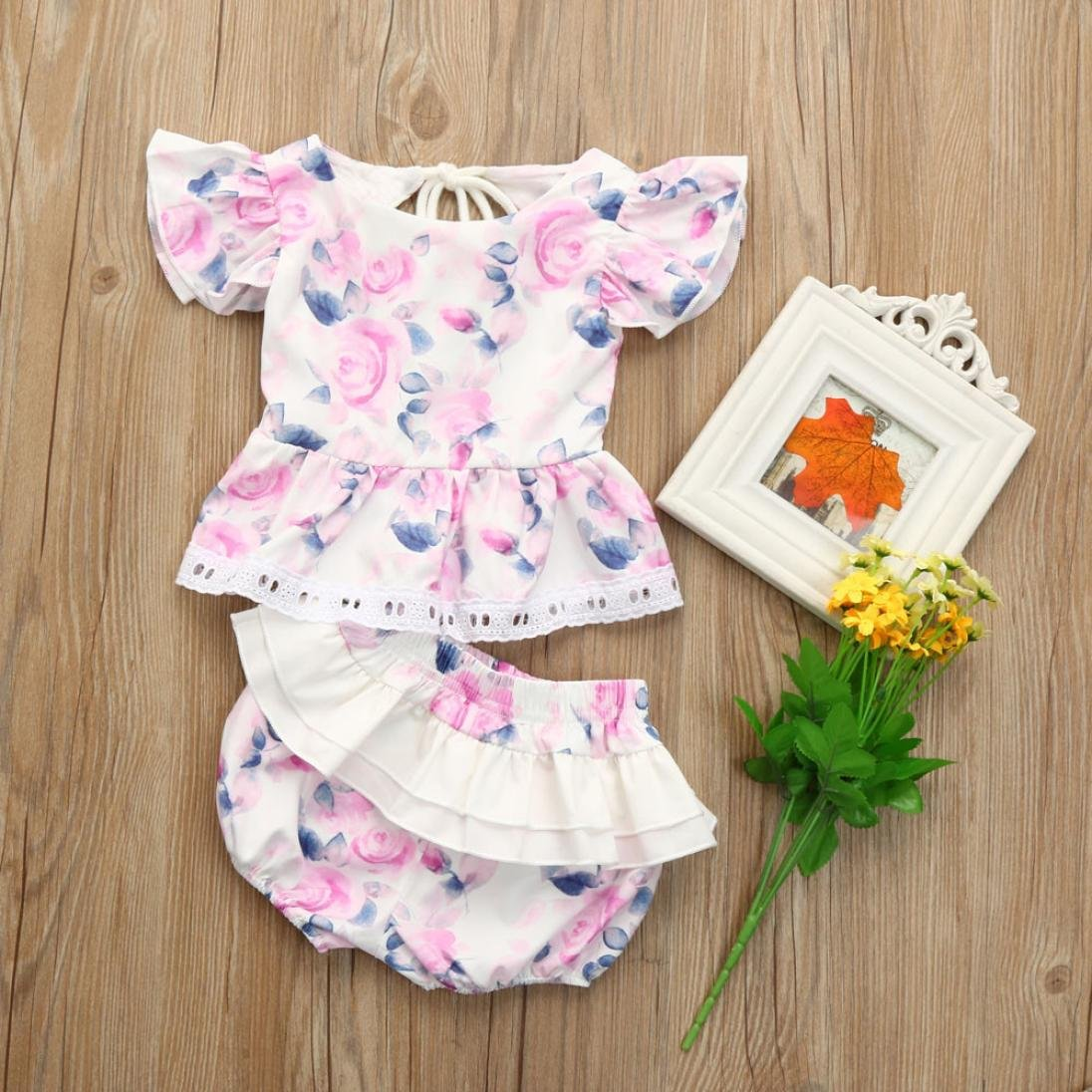 Winsummer Baby Infant Girls Floral Ruffle Tutu Skirt Tube Top Short Outfit Overalls Clothing Set