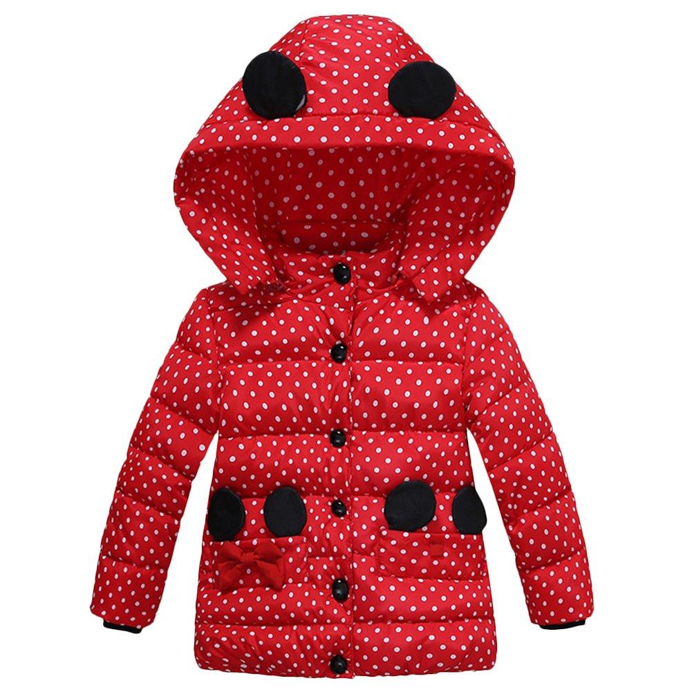IBTOM CASTLE Baby Girl Snowsuit Polka Dot Coat Jacket Mouse Ear Hoodies Outerwear