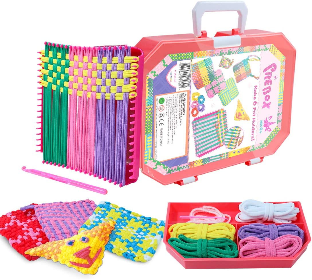 """PREBOX 7"""" Weaving Loom Kit for Kids and Adults, Lotta Loops Crafts for Girls Ages 6-8, Kids Knitting Kits for Beginners, Make 6 Potholders (216 Pieces)"""
