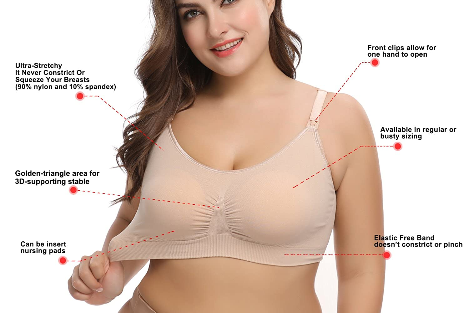 480cc3a09d1ee LYSHION Nursing Bra - Full Bust Seamless Nursing Maternity Breastfeeding  Bras with High Elasticity and Width Adjustable at Amazon Women s Clothing  store