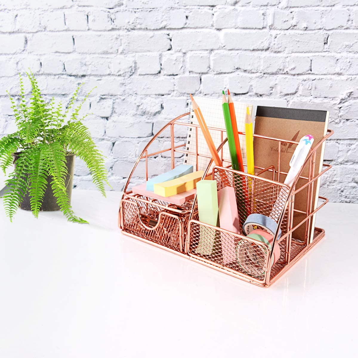 Home and Dorm Mesh Desk Accessories with Drawer for Office Desktop Organizer Decorative for Women Cute Desk Organizer Caddy Rose Gold Home Office Supplies Holder