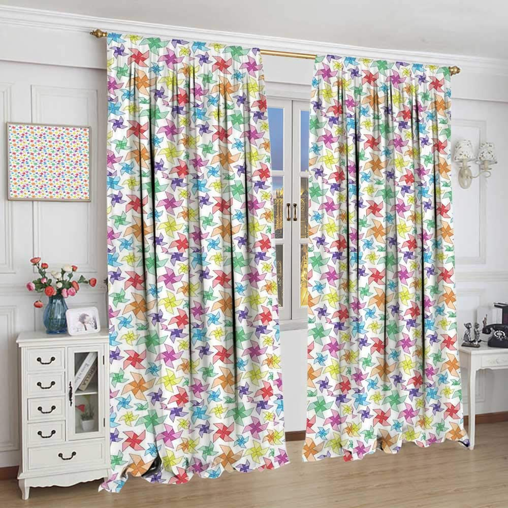 Home & Garden Curtains Pinwheel Kitchen Curtains Vibrant Childish Kids Cheerful Toys Spring Playroom Nursery Fun Play Joyful Image Window Drapes 2
