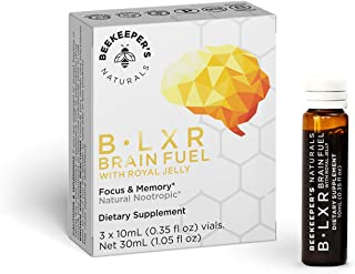 product image for BEEKEEPER'S NATURALS B.LXR Brain Fuel - Memory, Focus and Clarity Liquid Formula, Supports Productivity - Royal Jelly, Ginkgo Biloba, Bacopa Monnieri - Keto Friendly, Gluten & Caffeine-Free, (3 ct)