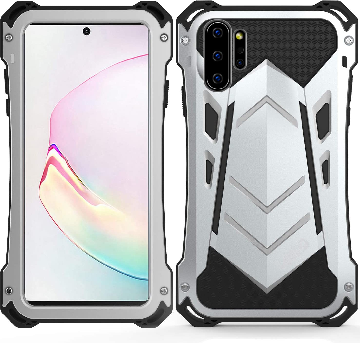 Samsung Note 10 plus Metal Military Case,HATA Note 10 plus Metal Bumper Silicone Heavy Duty Case Hybrid Rugged Armor Sturdy Shockproof Full body Defender Outdoor cover for Samsung Note 10 plus(Silver)
