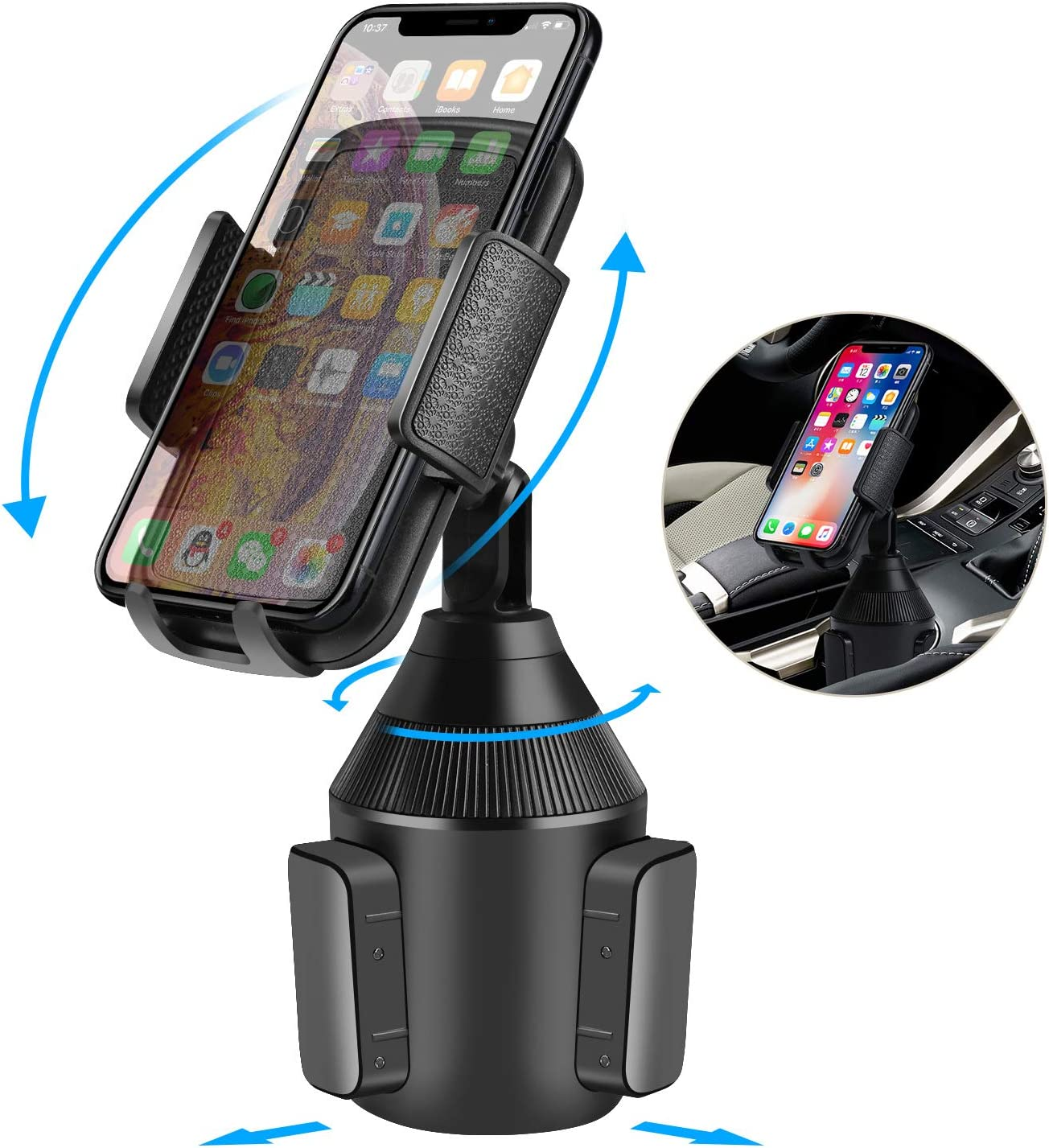 Universal Adjustable Cell Phone Cradle Car Mount for iPhone XR//XS Max//X//8//7 Plus//6s//Samsung Galaxy ihens5 Car Phone Mount,Cup Phone Holder for Car